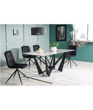 Стол обеденный Signal ASTON II Ceramic 180 (серый мрамор/черный матовый)