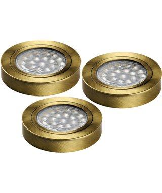 Комплект светодиодных светильников Furnika Round DY K10.01.15.62D, трансформатор, цвет бронза, свет теплый