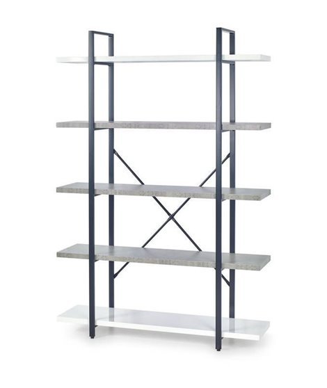 Стеллаж Halmar STONNO REG-2 (белый бетон/черный)