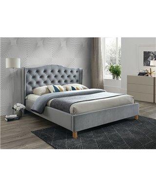 Кровать Signal ASPEN VELVET BLUVEL 14 (серый/дуб) 140/200