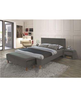 Кровать Signal AZURRO Velvet (серый/дуб) 160/200