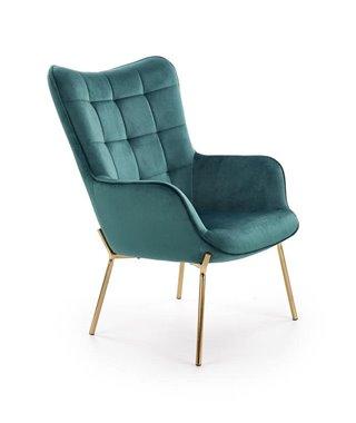 Кресло Halmar CASTEL 2 (темно-зеленый/золотой)