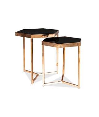 Комплект Signal MILOS, 2 стола журнальных (черный/шампанское)