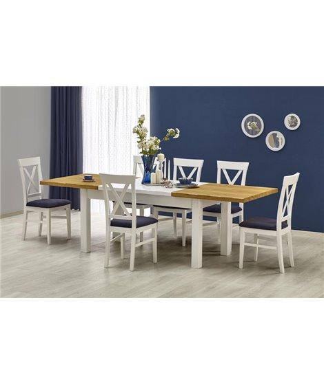 Стол обеденный Halmar LEONARDO, раскладной (белый/дуб медовый)