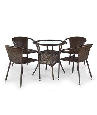 Стол обеденный Halmar MIDAS (искусственный ротанг/темно-коричневый)