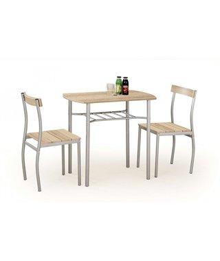 Комплект столовой мебели Halmar LANCE (стол + 2 стула, дуб сонома)