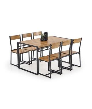 Комплект столовой мебели Halmar BOLIVAR (стол + 6 стульев, дуб золотой/черный)