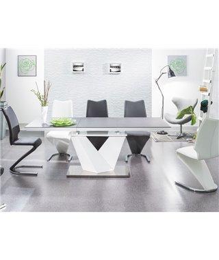 Стол обеденный Signal ALARAS II 140 раскладной (черный/белый лак)