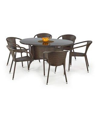 Стол обеденный Halmar MASTER (черный/темно-коричневый)