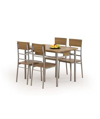 Комплект столовой мебели Halmar NATANIEL стол + 4 стула (орех)